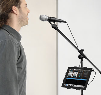 Sing with iRig Mic and VocaLive on your iPad attached to iKLIP 2